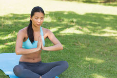 Woman in Namaste position with eyes closed at park Stock Photography