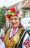 A woman in a national Bulgarian costume at the Nestenkar Games, Bulgaria Royalty Free Stock Photos