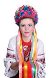 Woman in national ukrainian costume. Portrait. Royalty Free Stock Images
