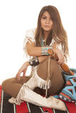 Woman Native American sit cross legs Royalty Free Stock Photography