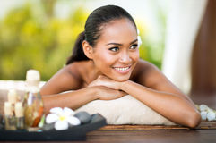 Woman natural beauty relaxing at outdoor spa Stock Photos