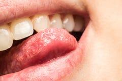 Woman Natural Lips And Tongue Macro Royalty Free Stock Photo