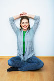 Woman natural portrait. Smiling girl at home, indo Royalty Free Stock Images