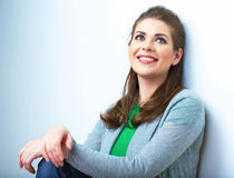 Woman natural portrait. White background isolated. Royalty Free Stock Photography