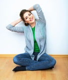 Woman natural portrait,  yoga exercises at home. W Stock Photos