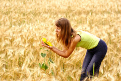 Woman and nature Stock Photo