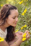 Woman in Nature. Woman enjoying a spring day in nature Royalty Free Stock Image