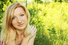 Woman on nature Royalty Free Stock Images
