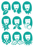 Woman with Nature Element Symbols Vector Icon Set Royalty Free Stock Images