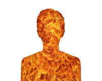 Woman nature fire. Silhouette of a young woman's portrait showing her inner world as a fire Royalty Free Stock Image
