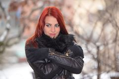 Woman in the nature a frosty day. Woman in the nature a frosty winter`s day Stock Photos