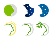 Woman nature and stars logo Stock Photo