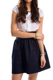 Woman in navy skirt. Stock Photography