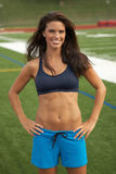 Woman in Navy Sports Bra Stock Photo