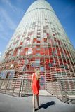 Woman near Agbar tower in Barcelona Royalty Free Stock Image
