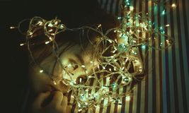Woman Near Assorted-color String Lights Royalty Free Stock Photography