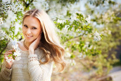 Woman Near Blossom Tree Royalty Free Stock Images