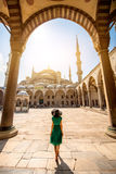 Woman near the Blue Mosque in Istanbul Royalty Free Stock Images