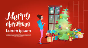 Woman Near Christmas Green Tree With Gift Box Greeting Card Decoration Happy New Year Banner Royalty Free Stock Photo