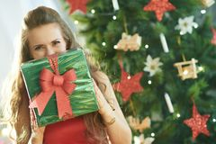 Woman near Christmas tree hiding behind green Christmas gift. Smiling young woman in red dress near Christmas tree hiding behind green Christmas present box stock images