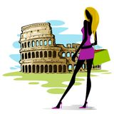 Woman near Colosseum in Rome. Vector illustration of woman infront of Colosseum in Rome Stock Photography