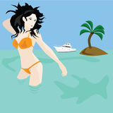 Woman near desert island Stock Image