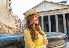 Woman near fountain of the pantheon in rome Royalty Free Stock Images