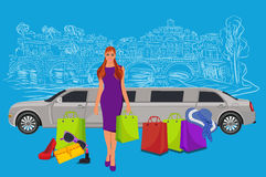 Woman near limousine after shopping, Italy background,  vector illustration Stock Photography