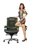 Woman near on luxury office armchair Royalty Free Stock Image