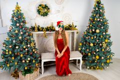Woman near x-mas tree. Beautiful woman in evening dress, young lady female near big x-mas fir-tree trees, happy New Year party golden decorations, accessory Royalty Free Stock Photo