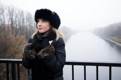 Woman Near The Moscow River Royalty Free Stock Photography