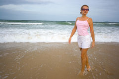Woman near ocean Royalty Free Stock Photo