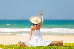 Woman near the ocean Royalty Free Stock Images
