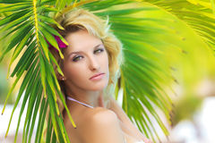 Woman near palm tree Royalty Free Stock Images
