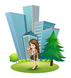 A woman near the pine tree across the tall buildings Stock Images