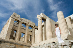 Woman near Propylaea Columns Acropolis Athens Royalty Free Stock Photography