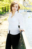 Woman near river in spring Royalty Free Stock Image