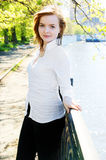 Woman near river in spring Royalty Free Stock Photography
