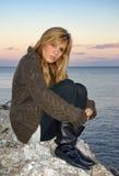 Woman near the Sea Stock Photography