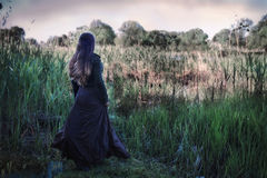 Woman near a swamp. A woman in antique clothes near a swamp royalty free stock photography