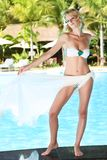 Woman near swimming pool Royalty Free Stock Photos