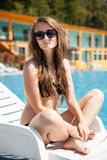 Woman near swimming pool Royalty Free Stock Photo