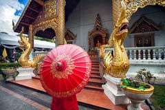 Woman near the Temple in Thailand Stock Photography