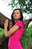 Woman near the tree Royalty Free Stock Image