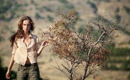 Woman near tree Stock Image
