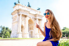 Woman near triumphal arch in Milan Royalty Free Stock Photo