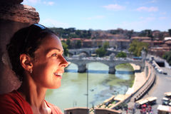 Woman near window in Sant' Angelo Castel Royalty Free Stock Photography
