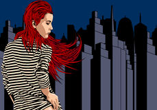 Woman near window with view on the night city. Long red hair. Vector image. Stock Images