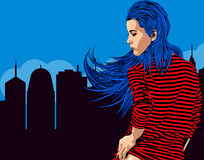Woman near window with view on the night city. Long red hair. Vector image. Stock Photo