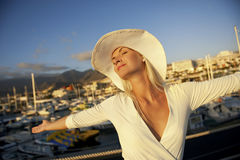 Woman near the yachts Stock Images